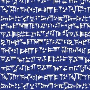 Babylonian Cuneiform on Dark Blue // Small
