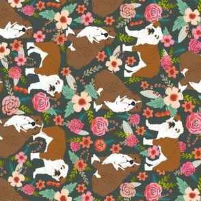 english bulldog florals railroad flowers vintage painted florals
