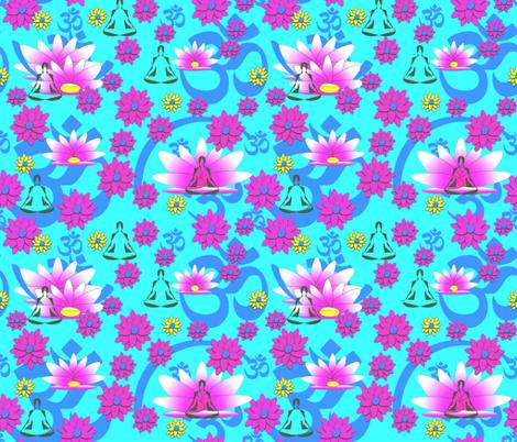 Yoga Meditation - Aqua Blue fabric by gargoylesentry on Spoonflower - custom fabric