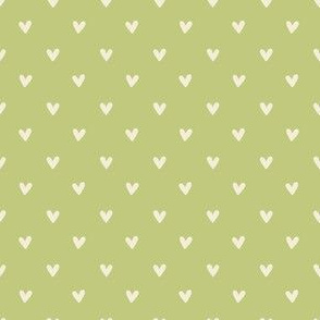 Happy Hearts in Celery Green