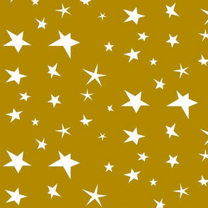 Stars - white on mustard yellow