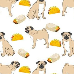 pug tacos pugs pug dog cute pug fabrics with tacos food sweet hipster novelty food print for pug owners