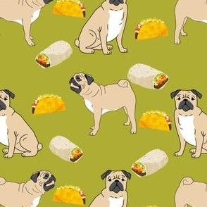 pug pugs pug fabric for pug owners taco tacos food cute pug fabric sweet funny pug fabric