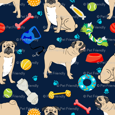 pug pugs pug dog dog toys cute dog fabric for pug owners