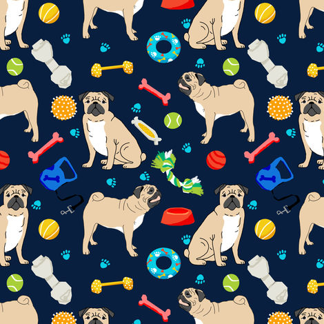 pug pugs pug dog dog toys cute dog fabric for pug owners fabric by petfriendly on Spoonflower - custom fabric