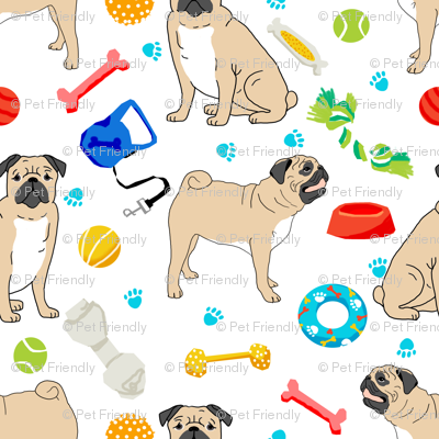pugs pug dog dog toys cute dog bone pug fabric for pug owners