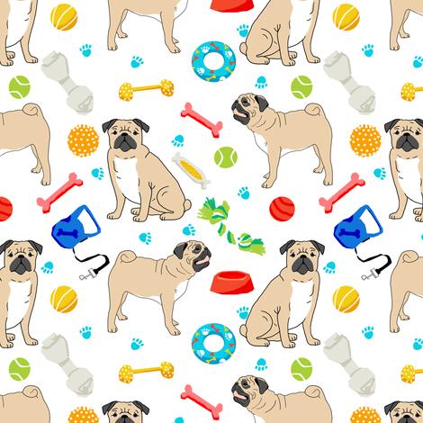 pugs pug dog dog toys cute dog bone pug fabric for pug owners fabric by petfriendly on Spoonflower - custom fabric