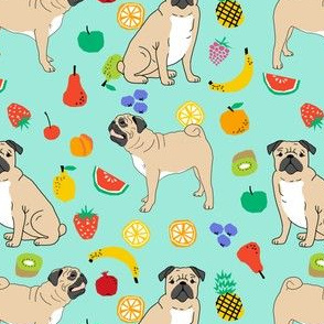 pug pugs summer mint fruits cute tropical dog dogs fabric for pug owners