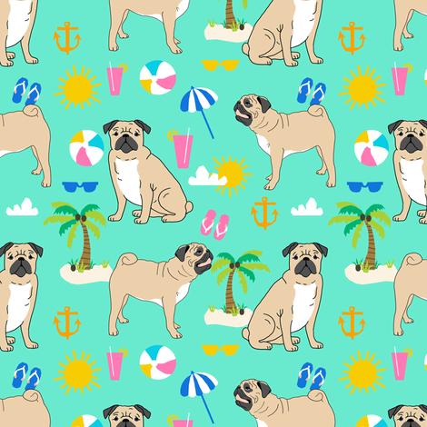 Pug Pugs Dog Palm Tree Summer Beach Tropical Kids Cute Mint Pug Dogs