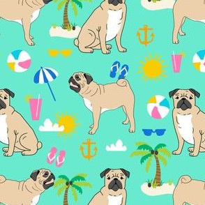pug pugs dog palm tree summer beach tropical kids cute mint pug dogs anchor sunshine happy dogs