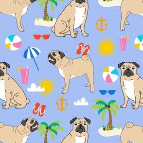 pugs pug dog beach beach ball kids cute summer tropical pug dog fabric