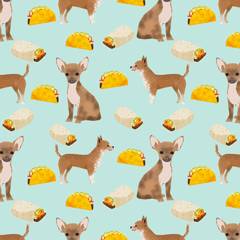 chihuahua food taco dog dogs pet dog cute chihuahua fabric with tacos burritos food novelty dog print fabric by petfriendly on Spoonflower - custom fabric