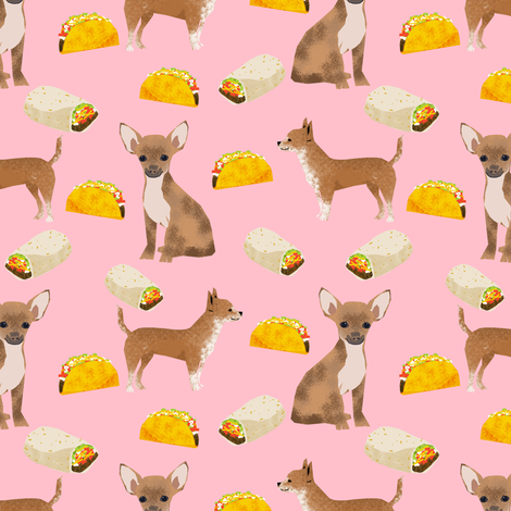 chihuahua dog pink chihuahua fabric with tacos mexican food burrito cute dogs best cute dog fabric for cute pets fabric by petfriendly on Spoonflower - custom fabric