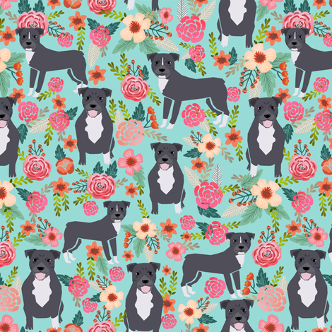 pitbull terriers florals mint pitbull dogs cute dog rescue dogs fabric fabric by petfriendly on Spoonflower - custom fabric