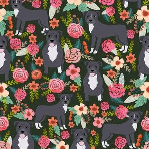pitbull terriers dark green flowers florals dogs dog fabric