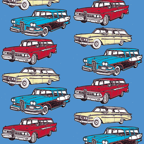 Nifty Fifties Edsel station wagons Villager Bermuda 1958 1959 1960 fabric by edsel2084 on Spoonflower - custom fabric