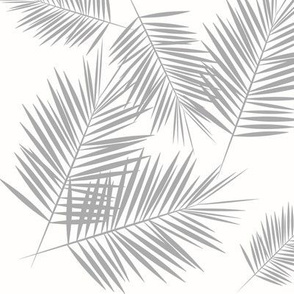 Palm leaf - grey on white