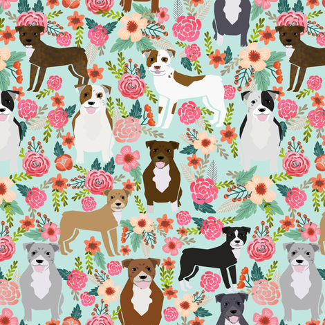 pitbull pitbull terriers cute dogs dog sweet animals florals mint dog pets fabric by petfriendly on Spoonflower - custom fabric
