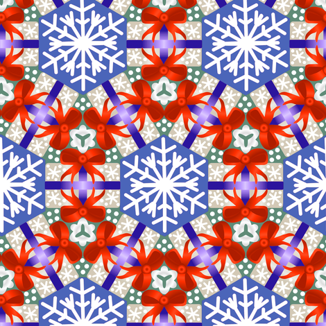 Christmas Package Wreaths Red Blue and Gray fabric by eclectic_house on Spoonflower - custom fabric