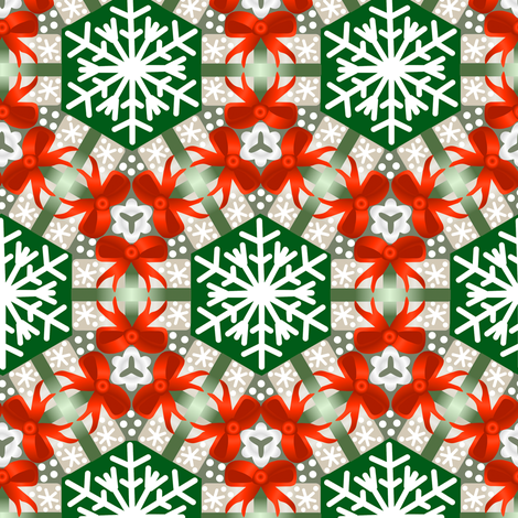 Christmas Package Wreaths Red Gray and Green fabric by eclectic_house on Spoonflower - custom fabric