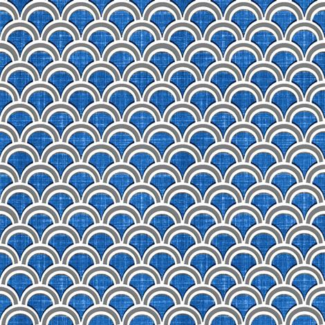 faux linen scallops in blue fabric by joanmclemore on Spoonflower - custom fabric
