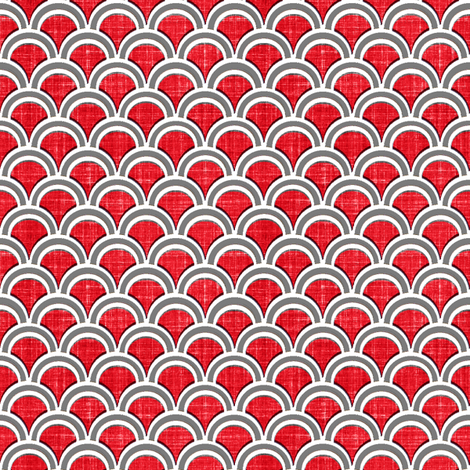 faux linen scallops in red fabric by joanmclemore on Spoonflower - custom fabric