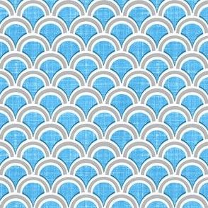 Faux linen azure blue scallops
