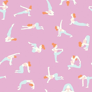 yoga girls  in lilac
