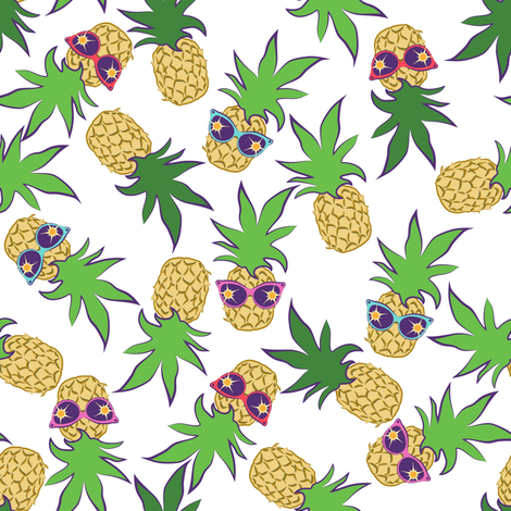Pineapple Summer White fabric by anderson_designs on Spoonflower - custom fabric