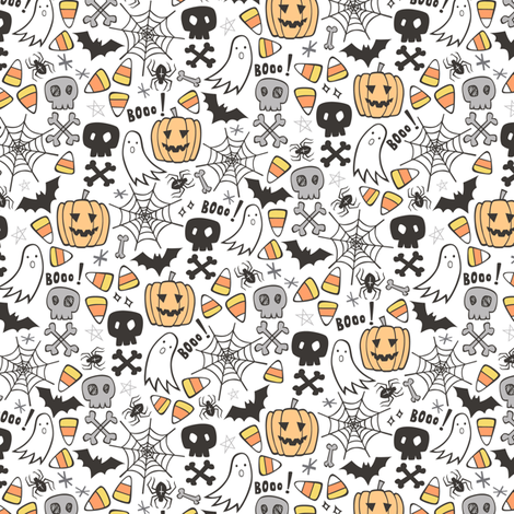Halloween Doodle with Skulls,Bat,Pumpkin,Spiderweb,Ghost on White Tiny Small fabric by caja_design on Spoonflower - custom fabric