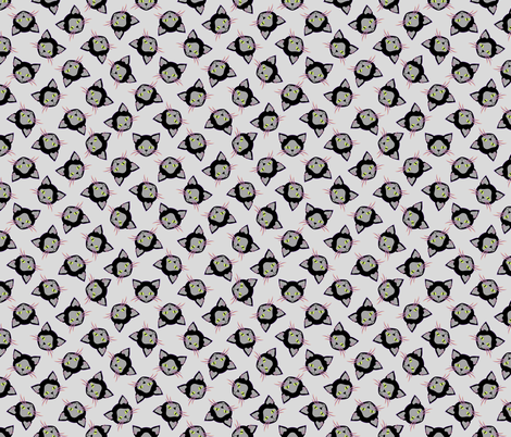 Halloween Black Cat on Gray fabric by anderson_designs on Spoonflower - custom fabric