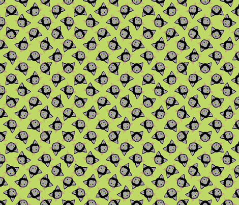 Halloween Black Cat on Green fabric by anderson_designs on Spoonflower - custom fabric