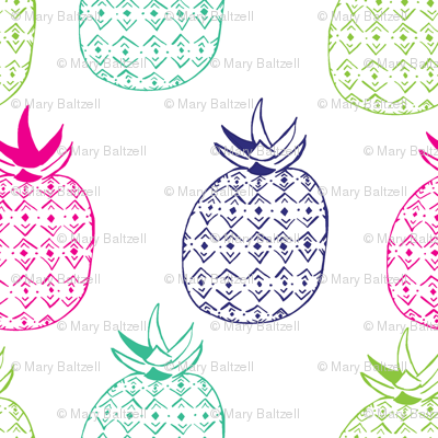 Pinapples in Navy Blue & Pink