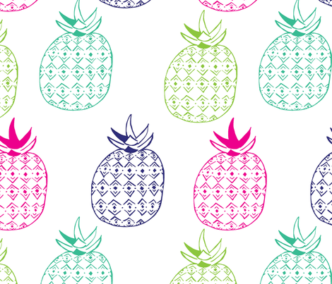 Pinapples in Navy Blue & Pink fabric by fat_bird_designs on Spoonflower - custom fabric