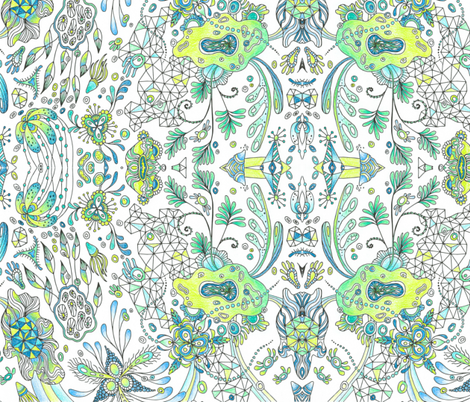 Botanical Triagulation Colored fabric by nellik on Spoonflower - custom fabric