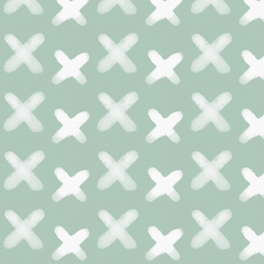 Watercolor crosses - white on mint || by sunny afternoon