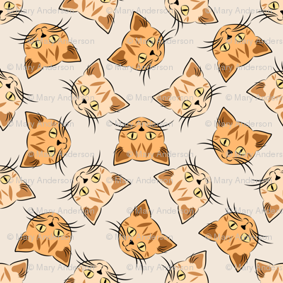 Orange Tabby Cats on Beige