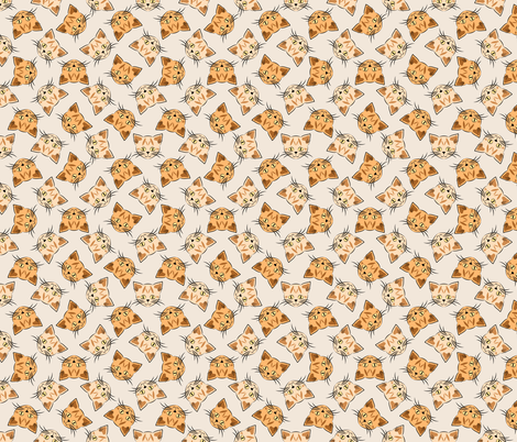 Orange Tabby Cats on Beige fabric by anderson_designs on Spoonflower - custom fabric