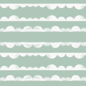 Watercolor half moons scallops white on mint || by sunny afternoon