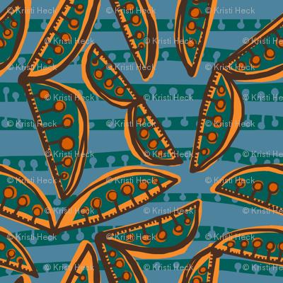 sweet peas in deep pine + yam [slate + deep pine stripe]