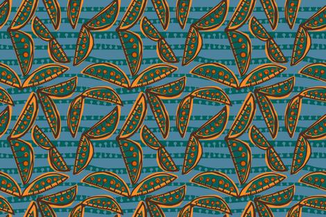 sweet peas in deep pine + yam [slate + deep pine stripe] fabric by kheckart on Spoonflower - custom fabric