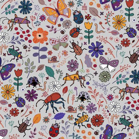 Butterflies, beetles & blooms - grey fabric by cecca on Spoonflower - custom fabric