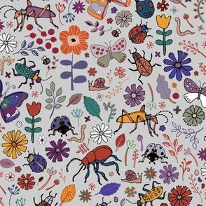 Butterflies, beetles & blooms - grey