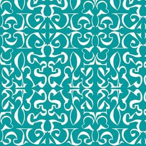 ARABESQUE Turquoise and White