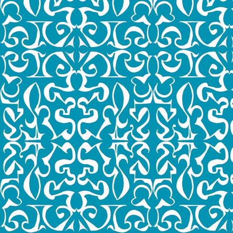 ARABESQUE Blue and White fabric by shi_designs on Spoonflower - custom fabric