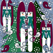 Snowman, Winter Trees, Birds & Snowflakes Fabric D