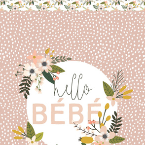 1.5 yards Hello Bébé Scalloping Dots + .5 yards Blush Sprigs and Blooms