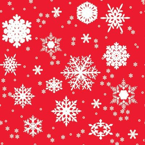 Snowflakes on Red Gift Wrap