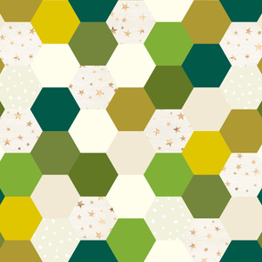 Christmas Greens Hexagon Wholecloth