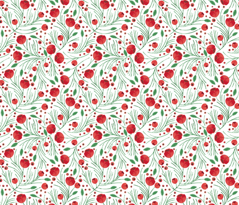 Christmas Floral fabric by ivieclothco on Spoonflower - custom fabric